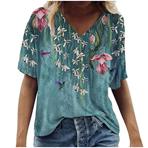 Dosoop Womens Casual Loose Short Sleeve T-Shirt Colorful