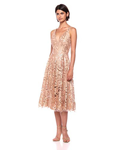 Dress the Population Womens Blair Plunging Fit and Flare