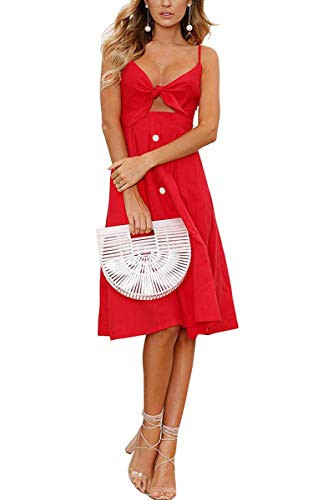 ECOWISH Womens Dresses Summer Tie Front V-Neck Spaghetti