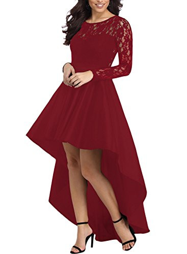 Elapsy Womens Vintage Lace High Low Satin Prom Evening Long