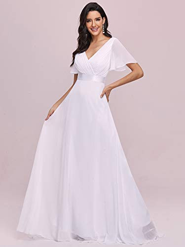 Ever-Pretty Womens Long V Neck Ruched Bust Evening Party