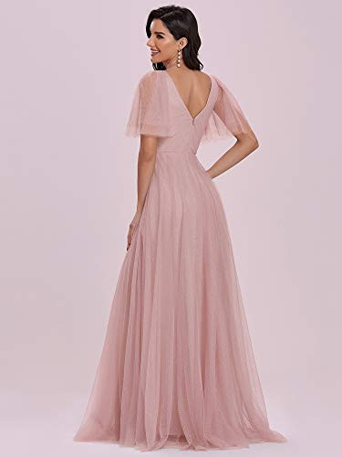 Ever-Pretty Womens Short Ruffle Sleeve A-line Tulle Long