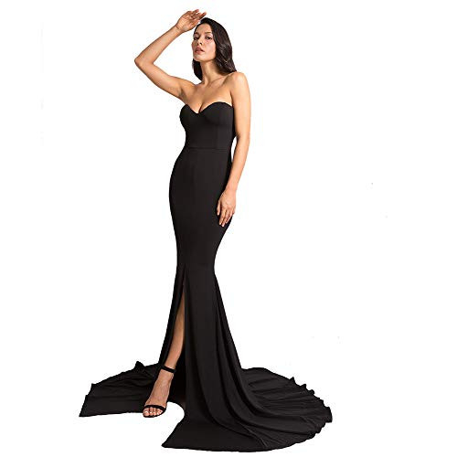 Formal Strapless Evening Dress Long Prom Gown Front Split