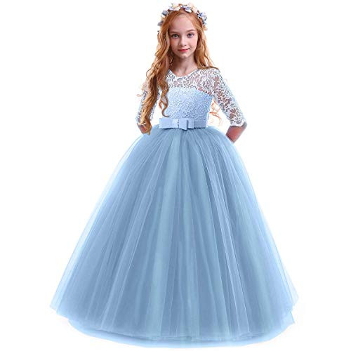 Girls Vintage Floral Lace 3/4 Sleeves Floor Length Party