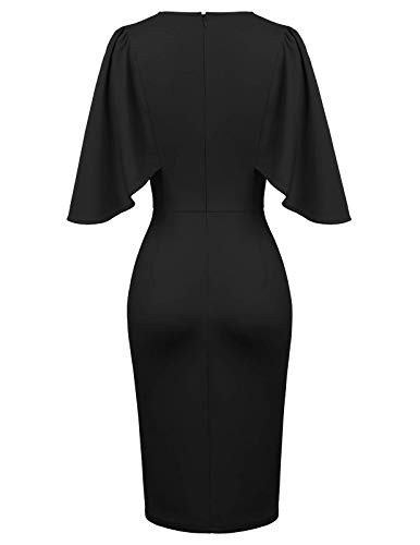 GRACE KARIN Womens Round Neck Hips-Wrapped Bodycon Pencil