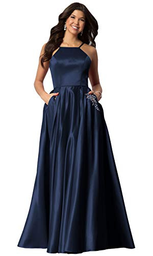 Halter Beaded Formal Evening Party Gown for Women Long Satin