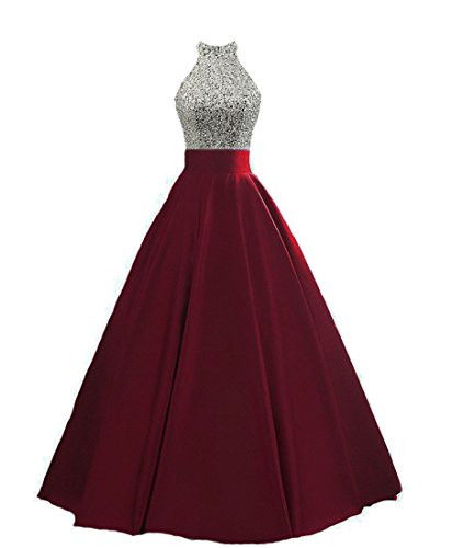 HEIMO Womens Keyhole Back Sequin Evening Party Gowns Beaded