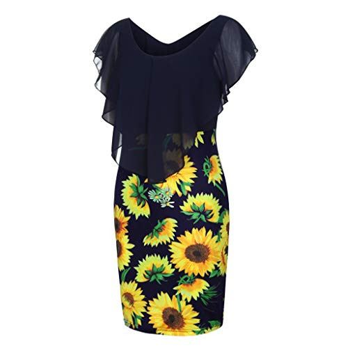 HHmei Sexy Sleeveless Sunflower Dresses for Women, Color