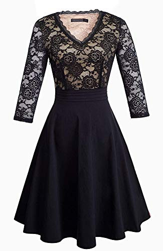 HOMEYEE Womens Chic V-Neck Lace Patchwork Flare Party Dress