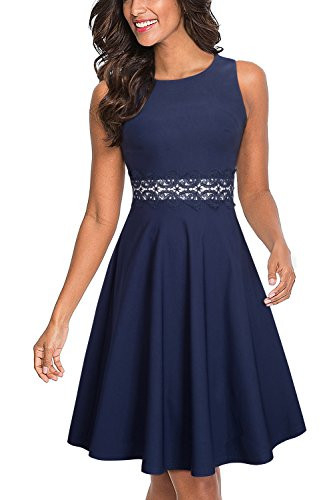 HOMEYEE Womens Sleeveless Cocktail A-Line Embroidery Party