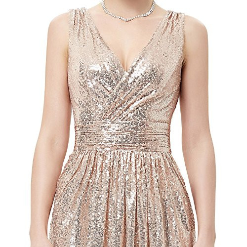 Kate Kasin Sexy Low Cut Long Prom Dress Sequin Bridesmaid