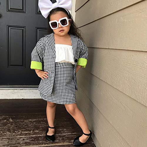Kids Baby Girl Fall Outfits Plaid Suit Skirt Set Long Sleeve