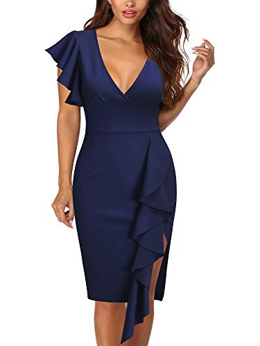 Knitee Womens Deep-V Neck Ruffle Sleeves Cocktail Party