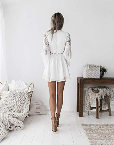 Lace Dresses for Women Crochet High Waisted Solid Color