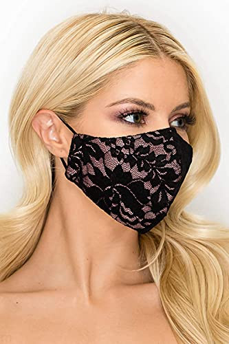 Lace Face Mask 3 Ply Elastic - Made in USA - Wedding,