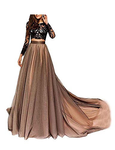 LastBridal Women Lace Long Sleeves Two Piece Prom Dresses