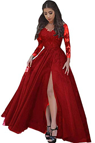 LastBridal Women Sexy V Neck Lace Appliques Long Sleeves