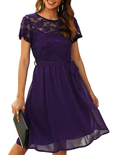 Manydress Womens Scooped Neckline Floral lace Top Cocktail