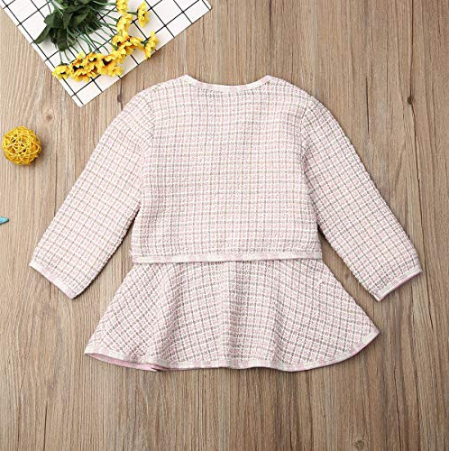 Merqwadd Toddler Baby Plaid Dress Cute Kids Formal Party