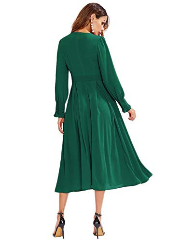 Milumia Womens Elegant Frilled Long Sleeve Pleated Fit and