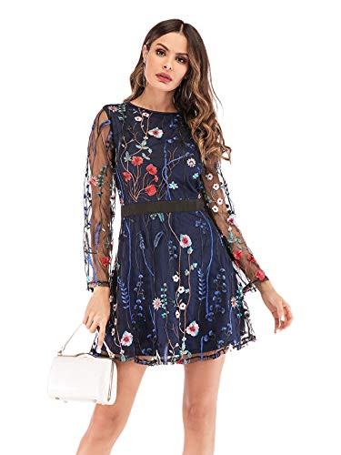 Milumia Womens Floral Embroidery Mesh Round Neck Tunic