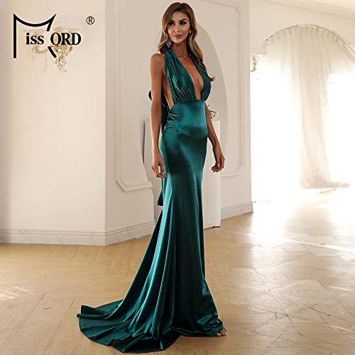 Miss ord Womens Sexy Satin V Neck Evening Bodycon Prom