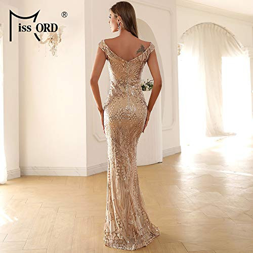 Miss ord Womens V Neck Sequined Prom Banquet Party Maxi