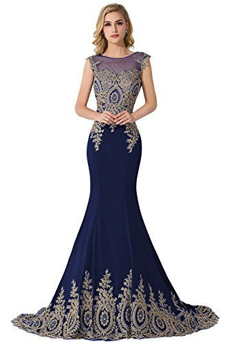 MisShow Embroidery Lace Long Mermaid Formal Evening Prom