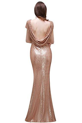 MisShow Women Sparkly Rose Gold Long Sequins Bridesmaid