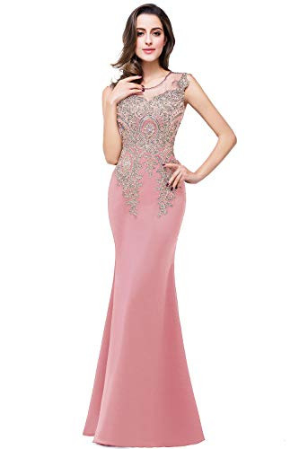 MisShow Womens Gold Lace Applique Long Prom Bridesmaid