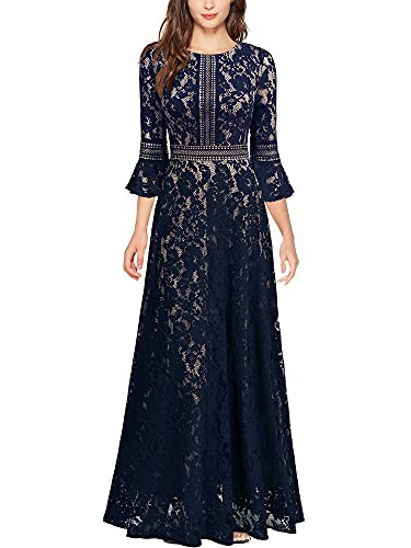 MISSMAY Womens Vintage Full Lace Contrast Bell Sleeve