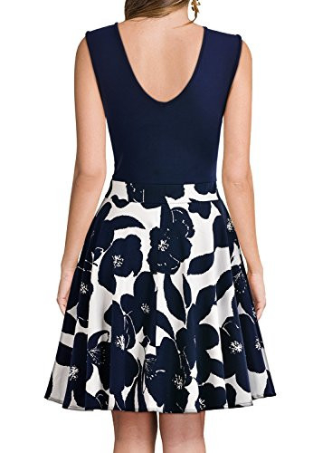 Miusol Womens Casual Flare Floral Contrast Sleeveless Party