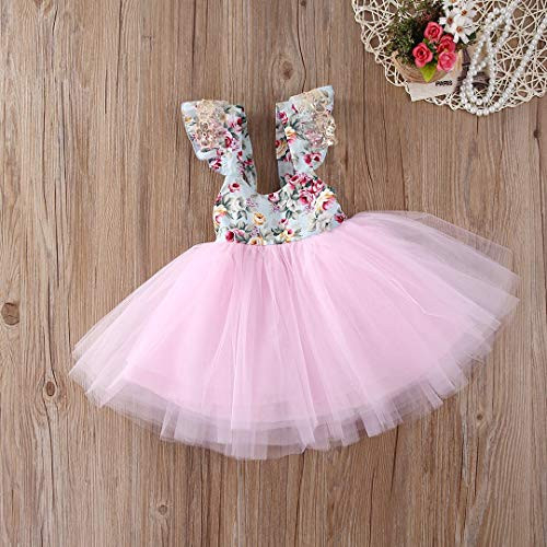 Newborn Toddler Baby Girls Floral Dress Party Ball Gown Lace