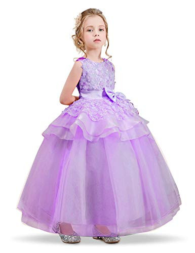 NNJXD Girl Sleeveless Embroidery Princess Pageant Dresses