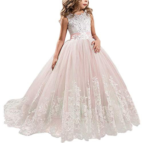 NNJXD Girls Princess Lilac Pageant Long Dress Kids Tulle