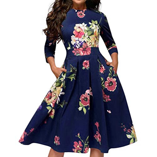 NREALY Dress Womens Elegent A-line Vintage Printing Party