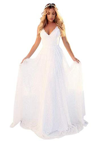 OSEMALL White Long Floral Lace Stylish Wedding Dress for