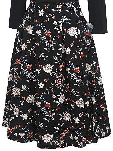 oxiuly Womens Vintage Patchwork Pockets Puffy Swing Casual