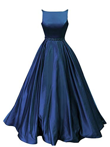 Prom Dresses Long Satin Beaded A-Line Formal Ball Gown for