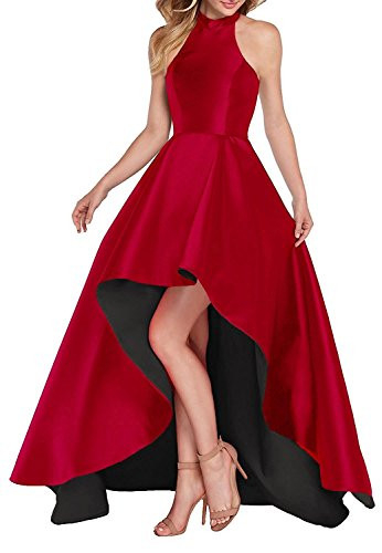 Red High Neck Short Front Long Back Prom Party Dresses