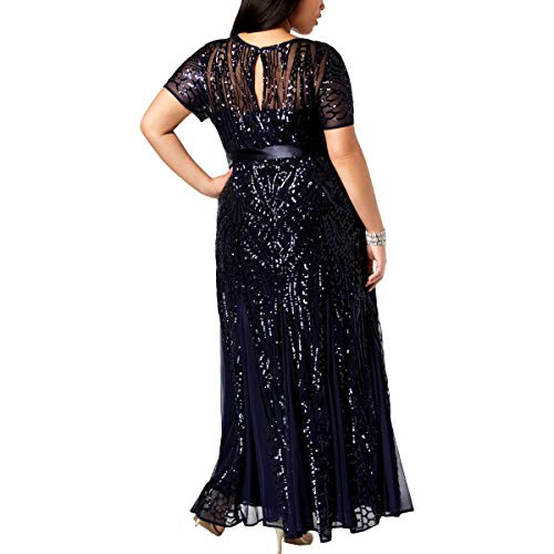 RampM Richards Womens Plus Size Long Beaded Gown, Navy, 18W