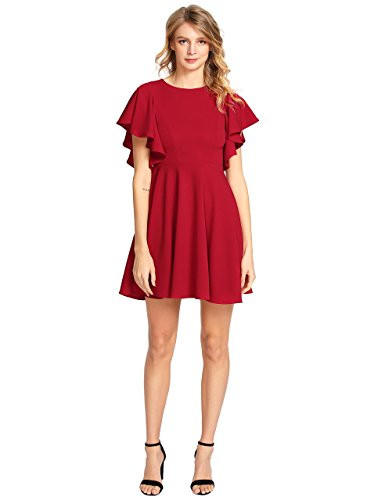 Romwe Womens Stretchy A Line Swing Flared Skater Cocktail