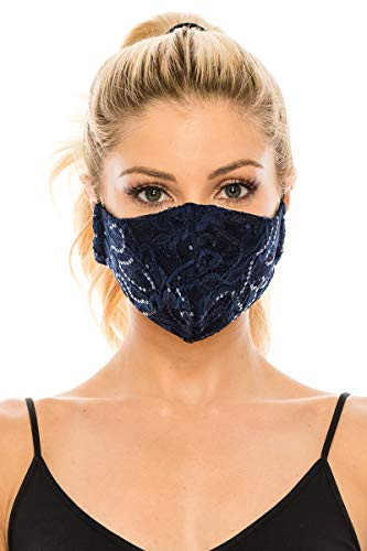 Sequin Lace Face Mask 3 Ply Elastic - Made in USA - Wedding,
