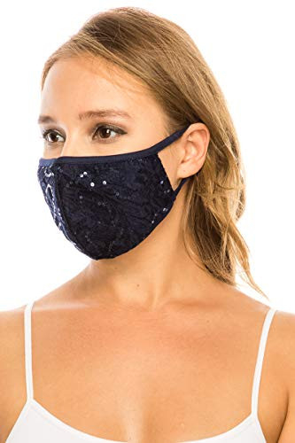 Sequin Lace Face Mask 3 Ply - Made in USA - Wedding,