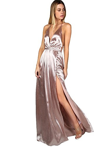 SheIn Womens Sexy Satin Deep V Neck Backless Maxi Party