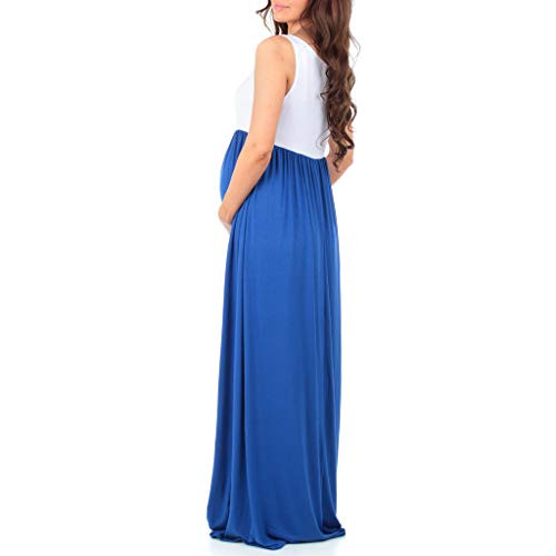Sleeveless Ruched Color Block Maxi Maternity Dress for Baby