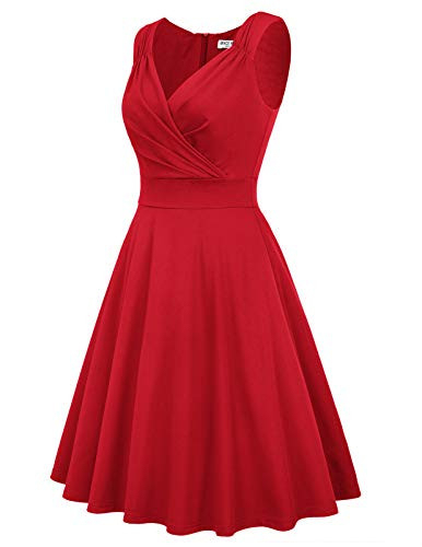 Sleeveless Vintage Dress A-line Cocktail Dress Size M Red