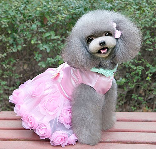 SMALLLEE_LUCKY_STORE Pet Small Dog Wedding Dress with