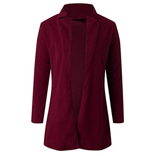 Smileyth Womens Trench Outwear Elegant Long Sleeve Solid