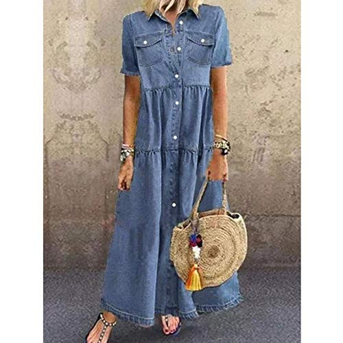 SSDXY Womens Denim Overall Maxi Dresses Short Sleeve Button